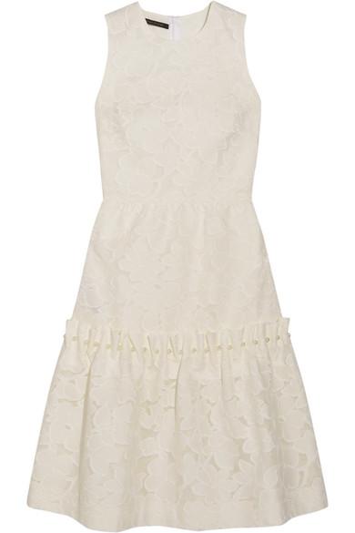 Mother of Pearl - Ellie Faux Pearl-embellished Devoré Cotton-blend Dress - White