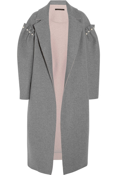 Mother of Pearl - Mitchell Oversized Embellished Bonded Wool Coat - Gray