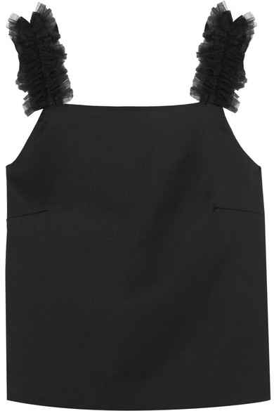 Sabina tulle-trimmed sateen top