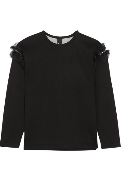 Mother of Pearl - Helma Embellished Tulle-trimmed Cotton And Modal-blend Neoprene Sweatshirt - Black