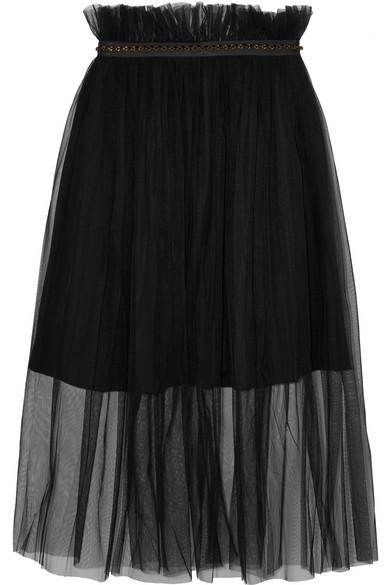 Mother of Pearl - Delphia Embellished Tulle Midi Skirt - Black