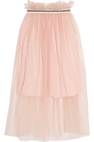 Mother of Pearl - Ursula Embellished Tulle Midi Skirt - Pastel pink