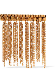 Barrette fringed gold-plated hairclip