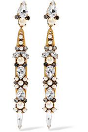 Erickson Beamon Born Again gold-plated, Swarovski crystal and faux pearl earrings