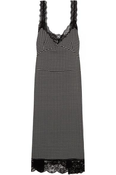 Paul & Joe - Lace-trimmed Printed Crepe Dress - Midnight blue