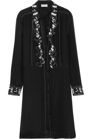 Paul & Joe - Syvette Bead-embellished Silk-satin Mini Dress - Black
