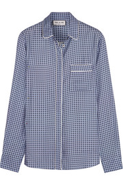 Paul & Joe Satin-trimmed printed crepe shirt