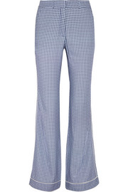 Satin-trimmed printed crepe straight-leg pants