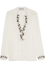 Paul & Joe Ruffled lace-trimmed embellished silk crepe de chine blouse