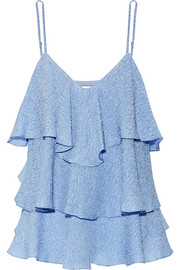 Paul & Joe Flores ruffled silk-blend cloqué top