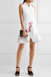 Carven Wrap-effect embroidered cotton-twill mini dress