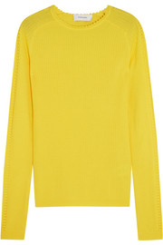 Carven Pointelle-trimmed ribbed wool sweater