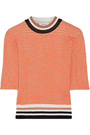 Carven Color-block ribbed-knit sweater