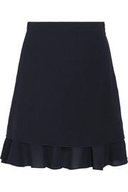 Carven Ruffle-trimmed crepe mini skirt