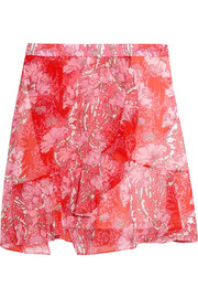 Wrap-effect floral-print georgette mini skirt
