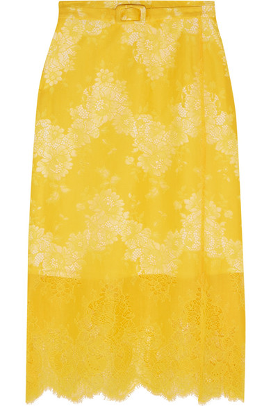 Carven - Belted Lace Skirt - Yellow