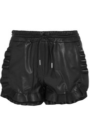 Carven Ruffled leather shorts