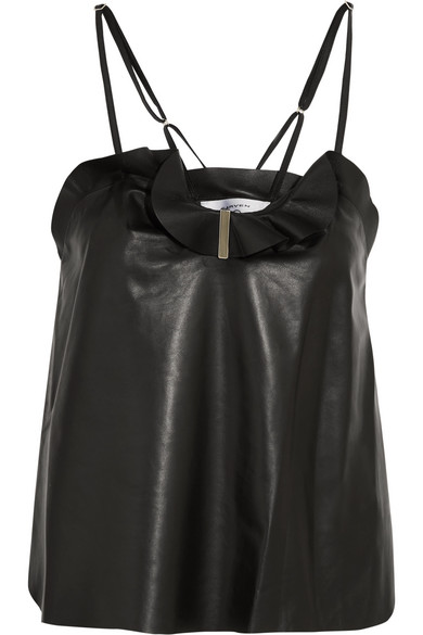 Carven - Ruffled Leather Camisole - Black