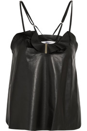 Carven Ruffled leather camisole