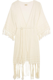 Olympia fringed basketweave cotton wrap dress