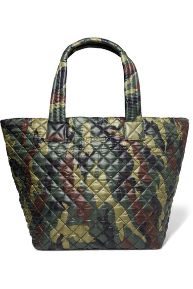 mz wallace female mz wallace metro camouflageprint quilted shell tote army green