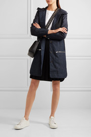 Denim, cotton and silk-blend and stretch-wool parka