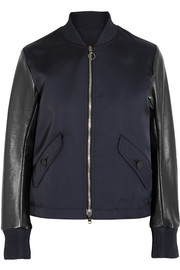 Lace-up leather and twill bomber jacket