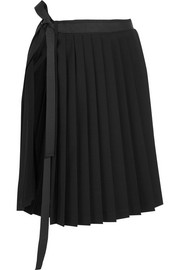 Pleated stretch-wool wrap skirt
