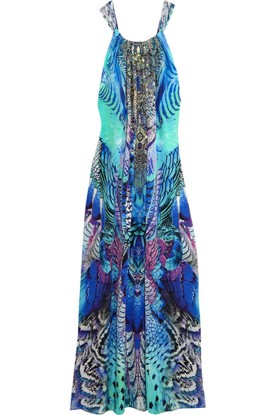 camilla female camilla embellished printed silk crepe de chine maxi dress blue