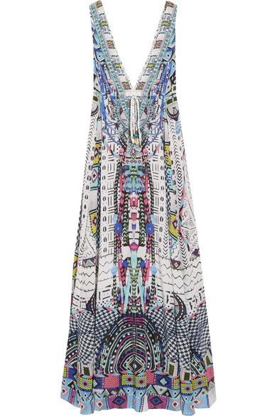 camilla female camilla maasai mosh crystalembellished printed silk crepe de chine maxi dress storm blue