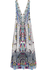 Maasai Mosh crystal-embellished printed silk crepe de chine maxi dress