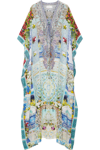 camilla female camilla my marjorelle convertible crystalembellished printed silk crepe de chine kaftan sky blue