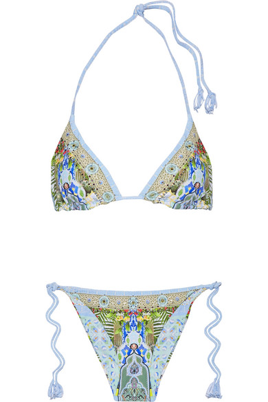 camilla female camilla my marjorelle reversible embellished triangle bikini blue