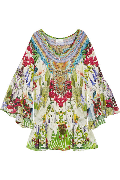 camilla female camilla exotic hypnotic crystalembellished printed silk crepe de chine mini dress green