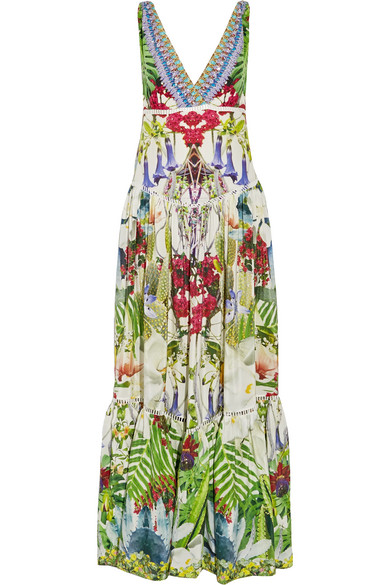 camilla female camilla exotic hypnotic crystalembellished silk crepe de chine maxi dress green