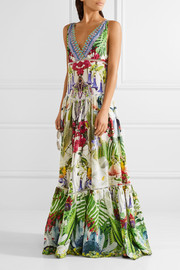 Exotic Hypnotic crystal-embellished silk crepe de chine maxi dress