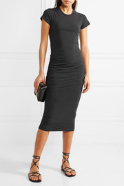 James Perse Classic ruched stretch-cotton jersey midi dress
