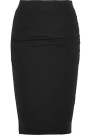 James Perse Ruched stretch-cotton jersey skirt