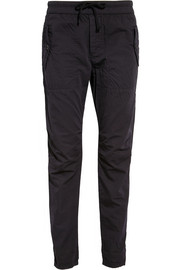 Cotton and silk-blend poplin tapered pants