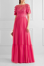Embellished embroidered silk-blend tulle and georgette gown