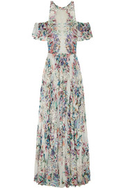 Embroidered floral-print georgette gown