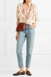 Pascal suede-paneled textured-leather shoulder bag