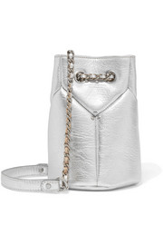 Popeye mini metallic textured-leather bucket bag