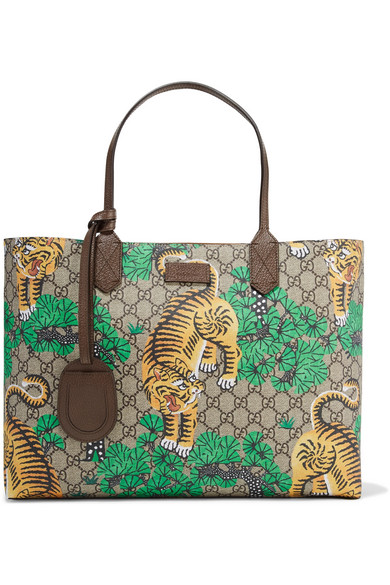 Gucci - Leather-trimmed Printed Coated-canvas Tote - Green