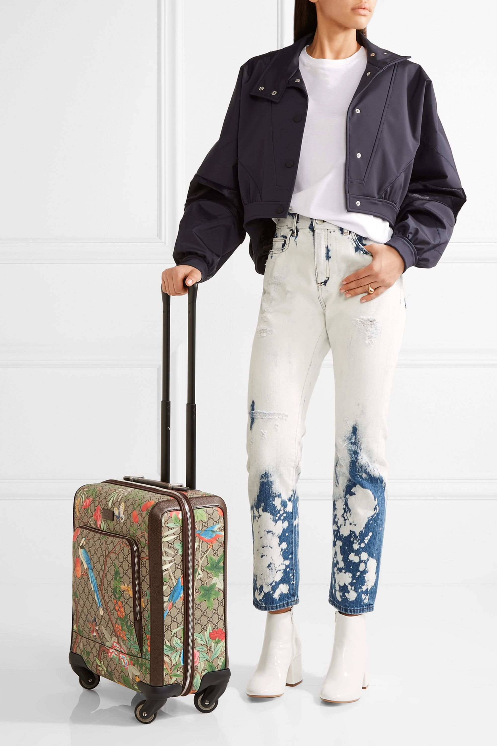 Gucci Gran Turismo leather-trimmed coated-canvas travel trolley