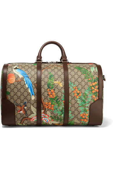 Gucci | Leather-trimmed coated-canvas weekend bag | NET-A-PORTER.COM