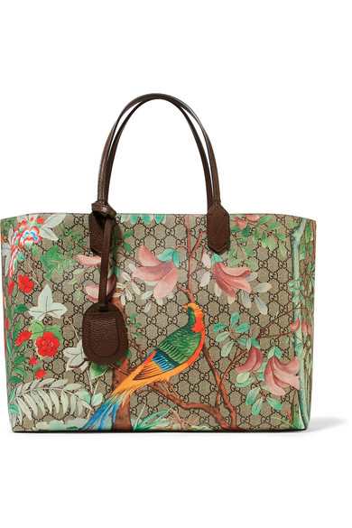 gucci female gucci leathertrimmed printed coatedcanvas tote green