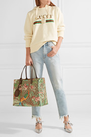 Gucci Leather-trimmed printed coated-canvas tote