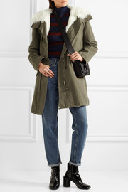 Shearling-lined twill parka
