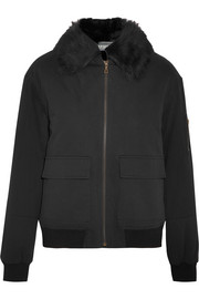 Shearling-lined twill bomber jacket